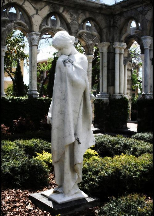 Statue Greeting Card featuring the photograph Cloisters Statue by Heidi Hermes