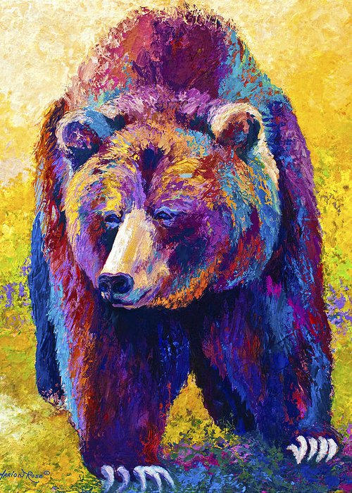 Western Greeting Card featuring the painting Close Encounter - Grizzly Bear by Marion Rose