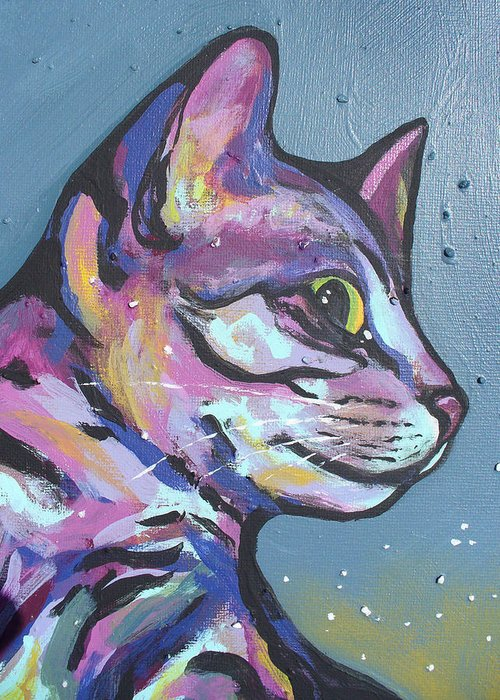 Cat Greeting Card featuring the painting Close Rainbow Rocky by Sarah Crumpler