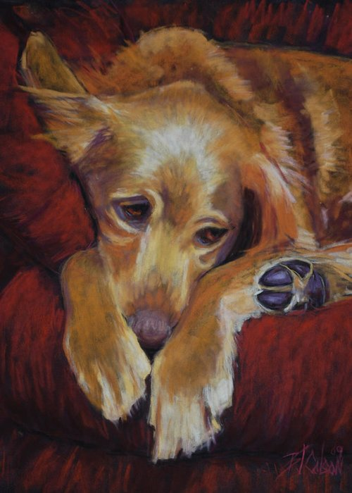Sleeping Dog Greeting Card featuring the painting Close To Dreamland by Billie Colson