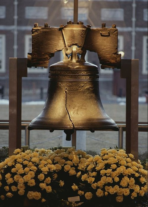Liberty Bell Greeting Card featuring the photograph Close View Of The Liberty Bell by Kenneth Garrett
