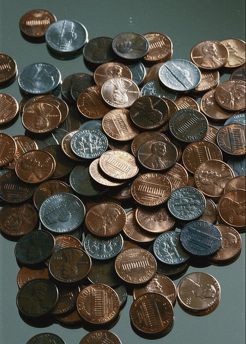 american Coins Greeting Card featuring the photograph Close View Of United States Coins by Vlad Kharitonov