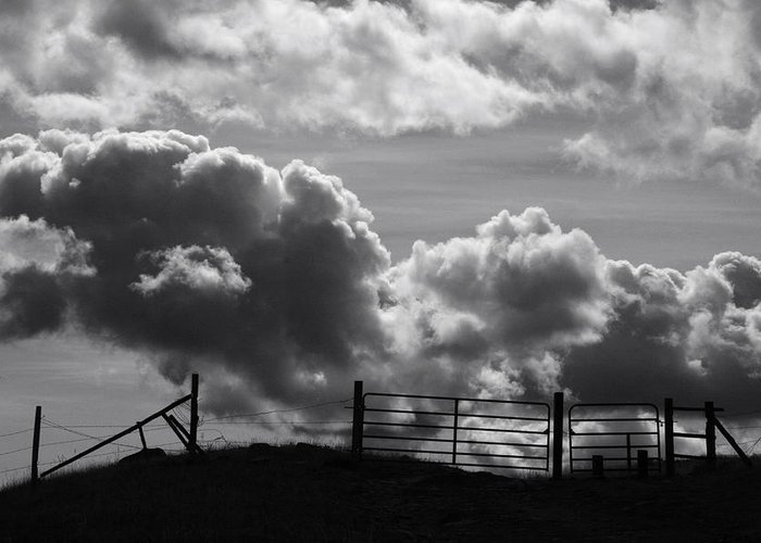 Black And White Greeting Card featuring the photograph Closed Gate - 2 by MH Ramona Swift