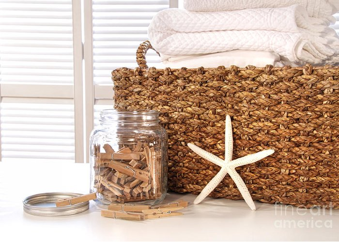 Basket Greeting Card featuring the photograph Closeup Of Laundry Basket With Fine Linens by Sandra Cunningham
