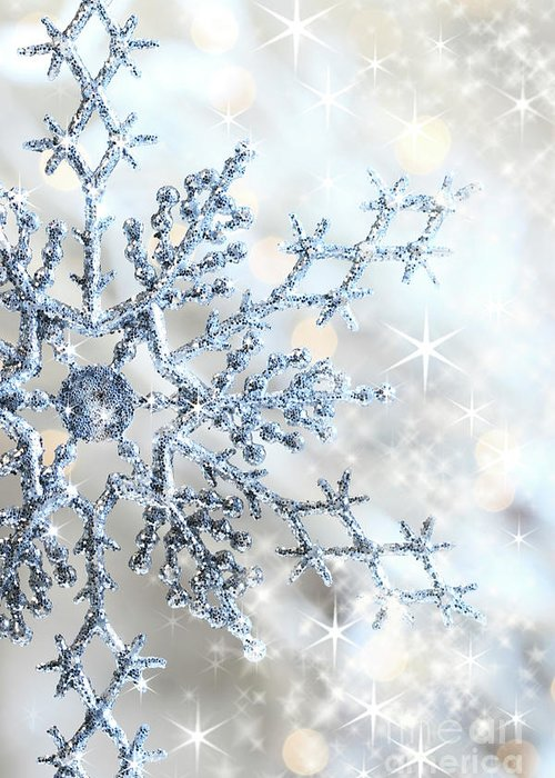 Background Greeting Card featuring the photograph Closeup Of Snowflake by Sandra Cunningham