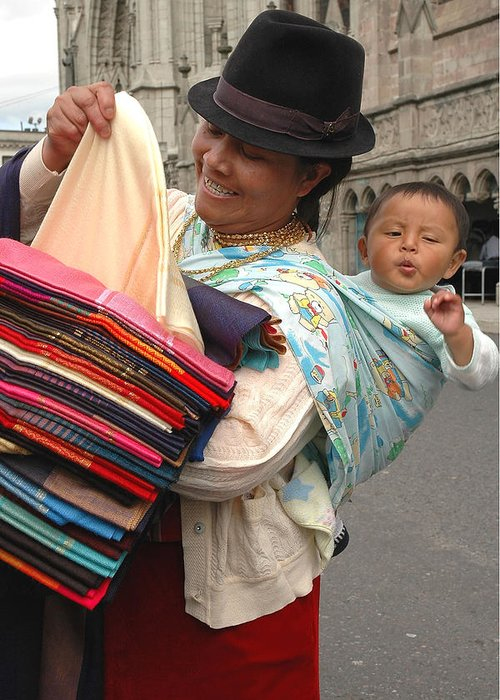 Street Merchant Greeting Card featuring the photograph Cloth Vendor In Quito by Alan Lenk