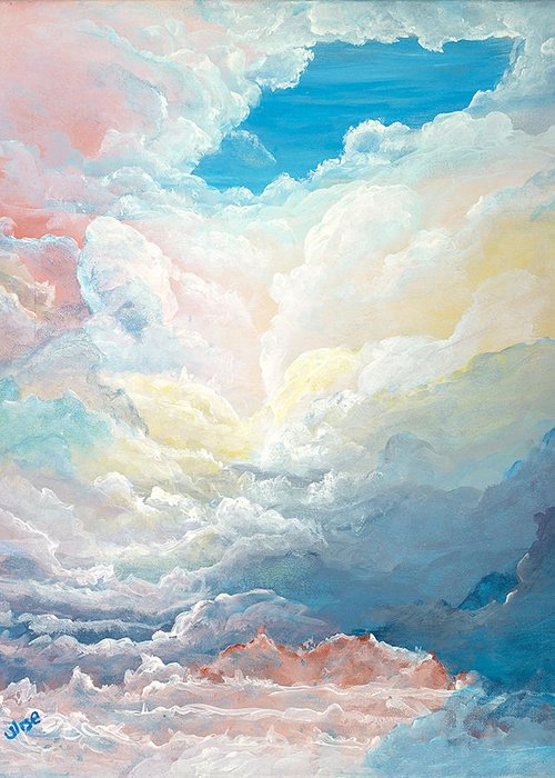Cloudscape Greeting Card featuring the painting Cloud 9 by John Wise