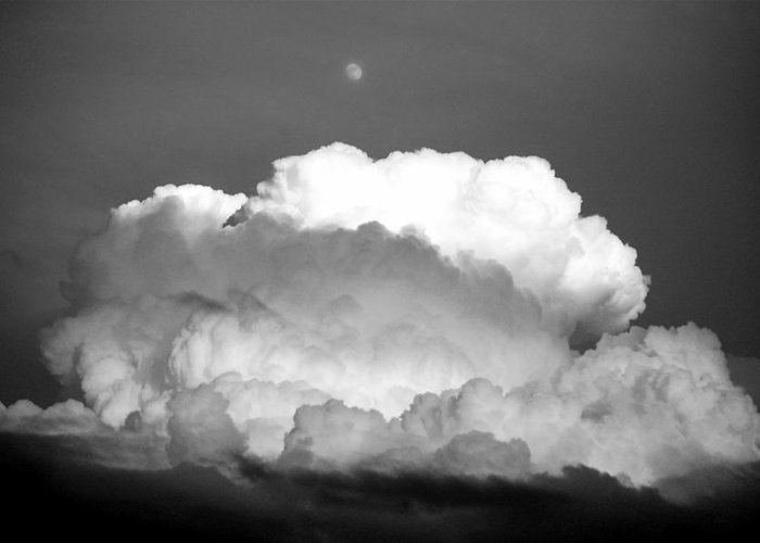 Cloud Moon Black And White Greeting Card featuring the photograph Cloud and Moon by Kevin Mitts