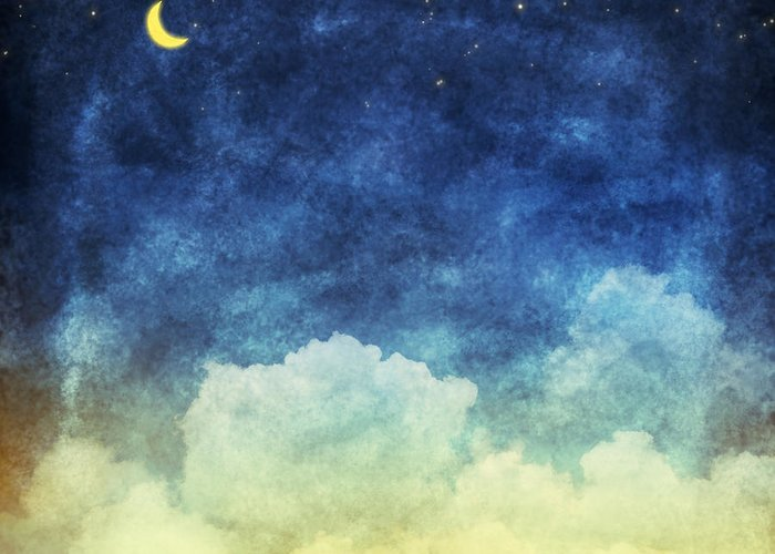 Art Greeting Card featuring the painting Cloud And Sky At Night by Setsiri Silapasuwanchai