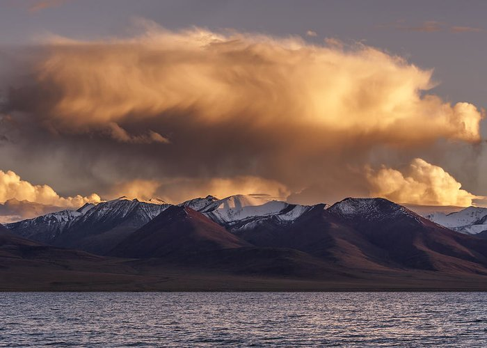 Cloud Greeting Card featuring the photograph Cloud Over Namtso by Hitendra SINKAR