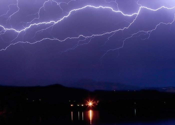 Lightning Greeting Card featuring the photograph Cloud To Cloud Horizontal Lightning by James BO Insogna