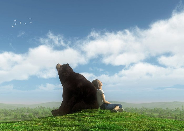Bear Greeting Card featuring the digital art Cloud Watchers by Cynthia Decker