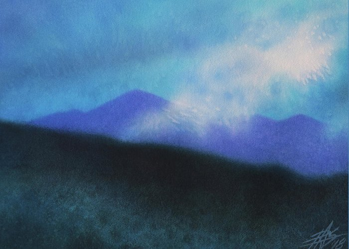 Landscape Greeting Card featuring the painting Cloudline III by Robin Street-Morris