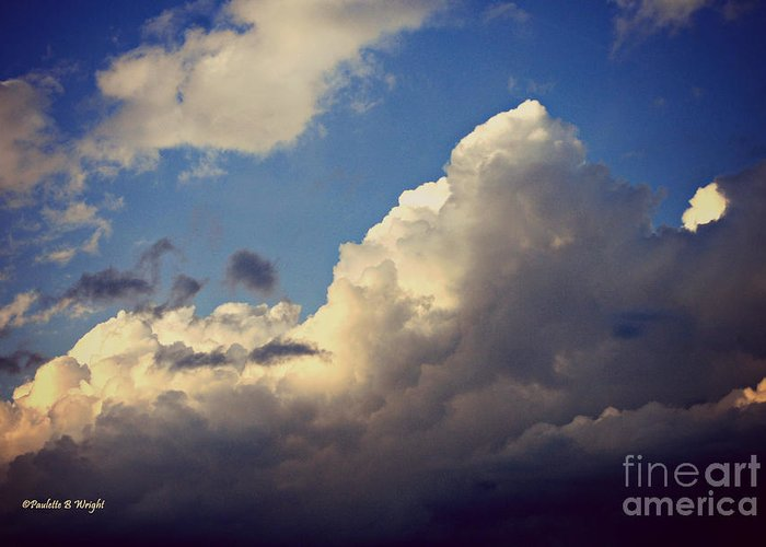 Clouds Greeting Card featuring the photograph Clouds-3 by Paulette B Wright