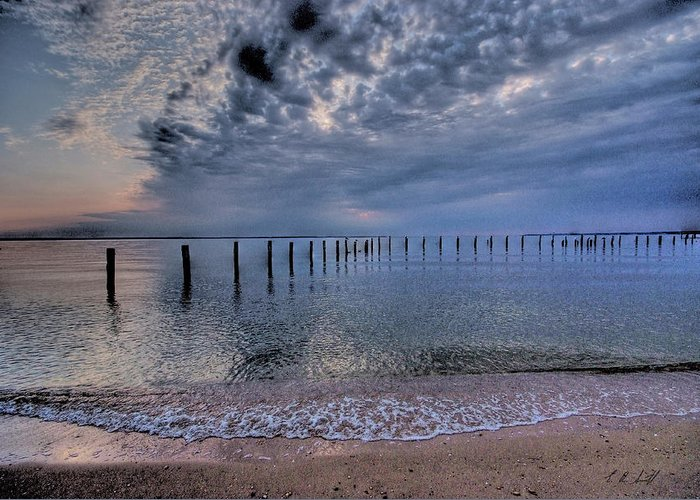 Colonial Beach Greeting Card featuring the photograph Clouds And Froth by E R Smith