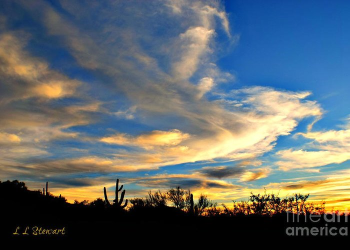 Southwest Greeting Card featuring the photograph Clouds At Sunset by L L Stewart
