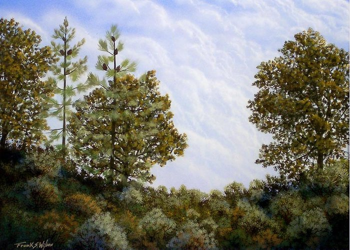 Landscape Greeting Card featuring the painting Clouds In Foothills by Frank Wilson
