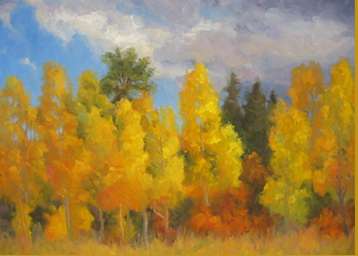 Landscape Greeting Card featuring the painting Clouds Of October by Bunny Oliver