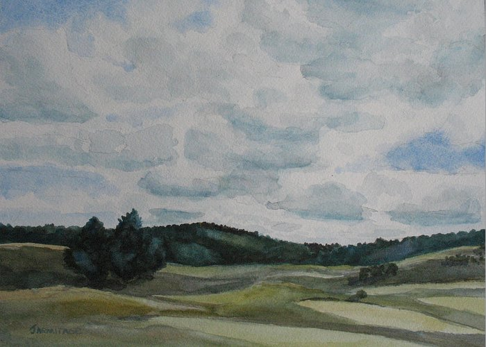 Mountains Greeting Card featuring the painting Clouds Over Boot Hill by Jenny Armitage