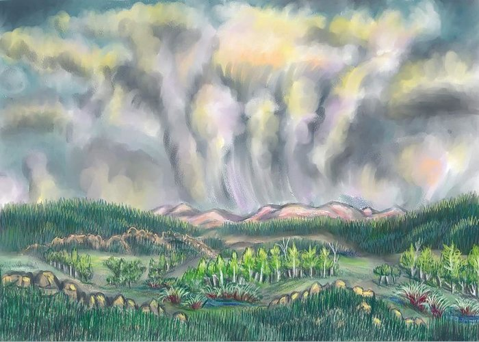 Landscape Greeting Card featuring the drawing Clouds Over Medicine Bow Peak by Dawn Senior-Trask