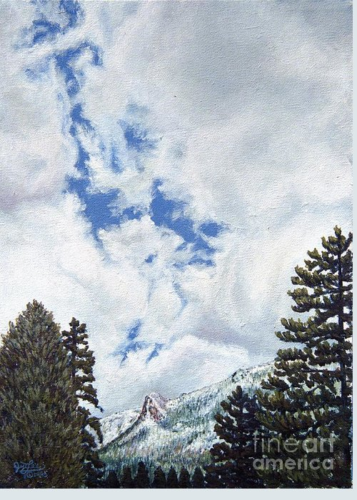 Landscape Painting Greeting Card featuring the painting Clouds Over Tahquitz by Jiji Lee