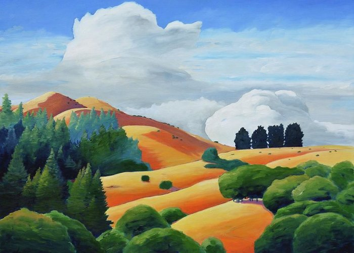 Clouds Greeting Card featuring the painting Clouds Over Windy Hill by Gary Coleman