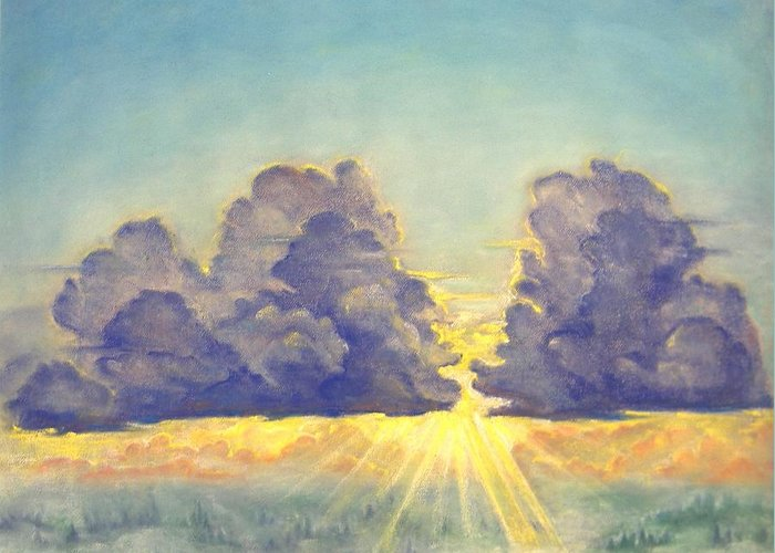 Clouds Greeting Card featuring the painting Cloudscape by Julianna Ziegler