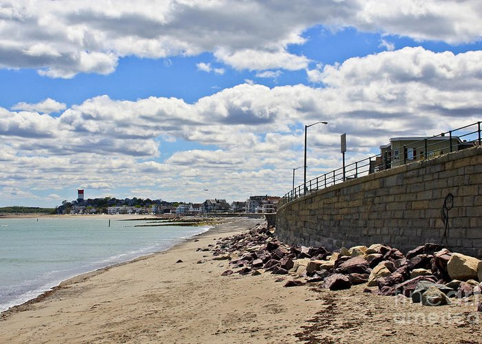 Winthrop Beach Greeting Card featuring the photograph Cloudy Beach by Extrospection Art