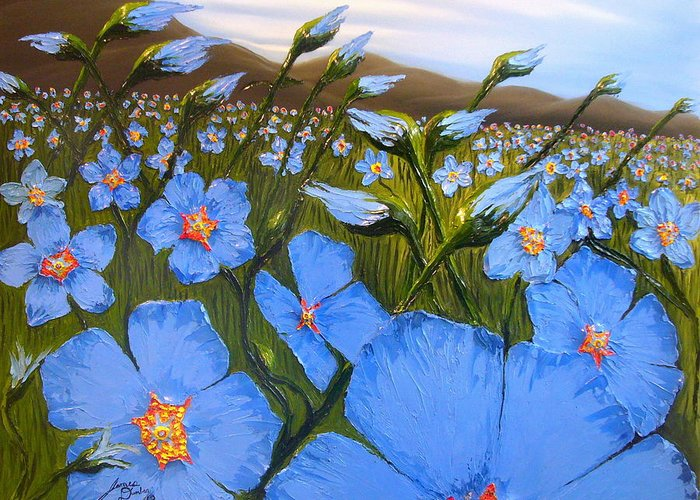 Beautiful Blue Flax Flowers! Greeting Card featuring the painting Cloudy Day Blues by Portland Art Creations
