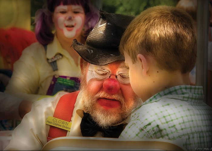 Savad Greeting Card featuring the photograph Clown - Face Painting by Mike Savad