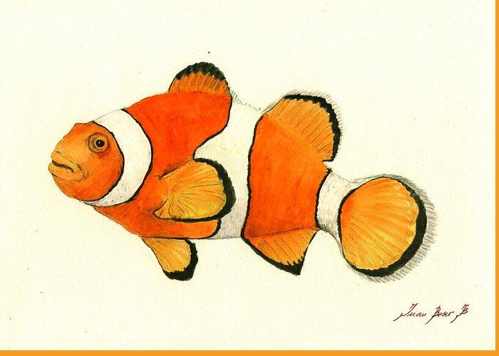 Clown Fish Art Greeting Card featuring the painting Clown Fish by Juan Bosco
