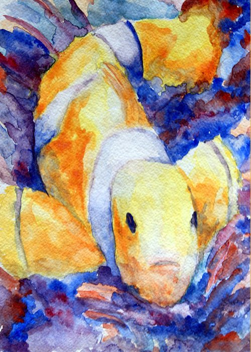 Marine Art Greeting Card featuring the painting Clown Fish by Mike Segura