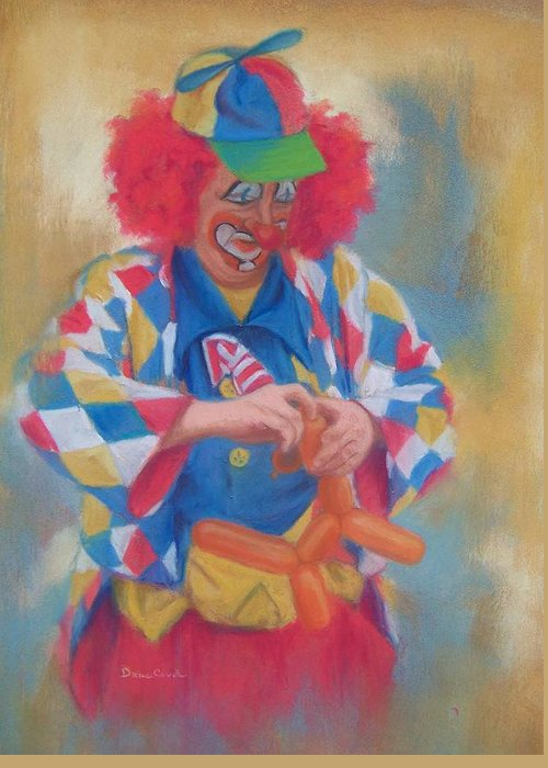 Clown Greeting Card featuring the painting Clown Making Balloon Animals by Diane Caudle