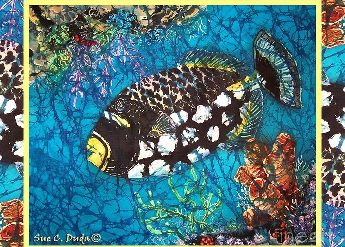 Batik Greeting Card featuring the painting Clown Triggerfish-bordered by Sue Duda