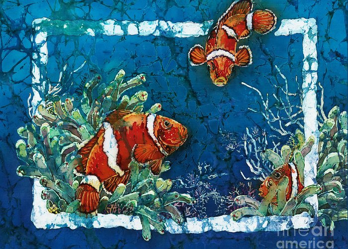 Ocean Greeting Card featuring the painting Clowning Around - Clownfish by Sue Duda
