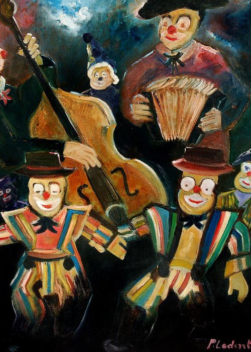 Clowns Circus Greeting Card featuring the print Clowns by Pol Ledent