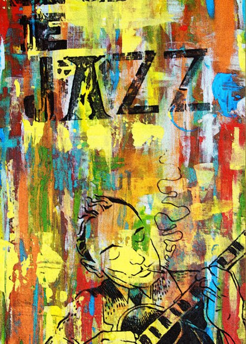 Jazz Musicians Mixed Media Greeting Cards