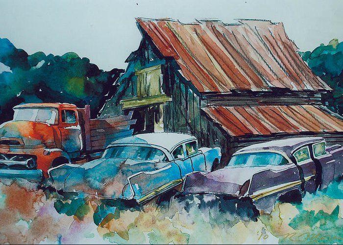 Ford Cabover Greeting Card featuring the painting Cluster of Restorables by Ron Morrison