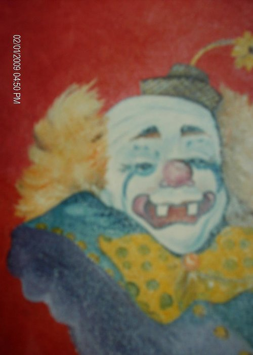 Clown Greeting Card featuring the painting Clyde by Terry Lash