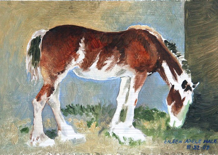 Horse Greeting Card featuring the painting Clydesdale Colt Pad by Eileen Hale