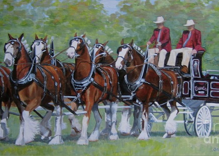 Clydesdale Greeting Card featuring the painting Clydesdale Hitch by Anda Kett