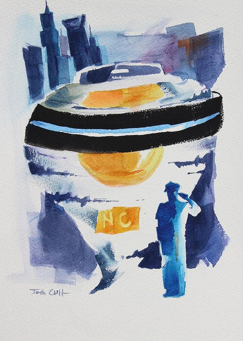 Police Greeting Card featuring the painting Cmpd Fallen. by Josh Chilton