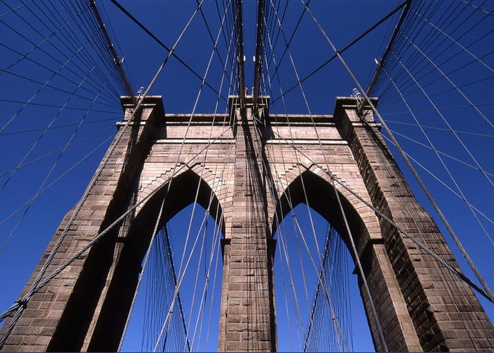 Landscape Brooklyn Bridge New York City Greeting Card featuring the photograph Cnrg0409 by Henry Butz