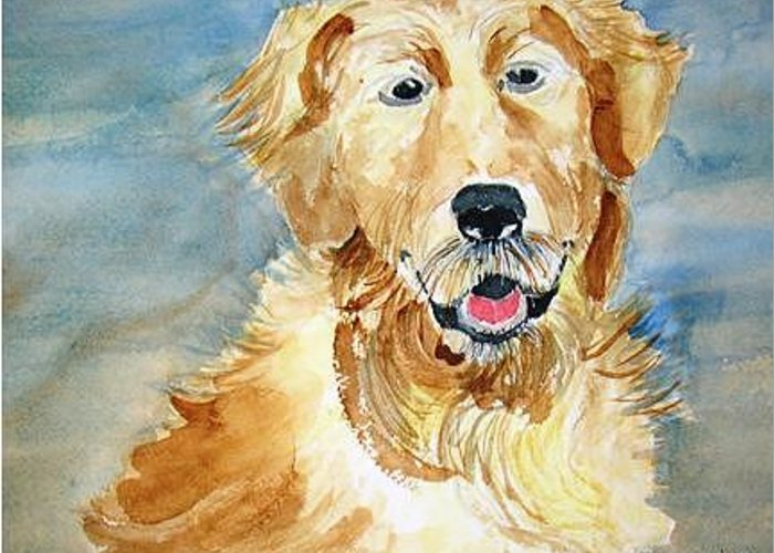 Animal Portrait Greeting Card featuring the painting Coach by Joe Lanni