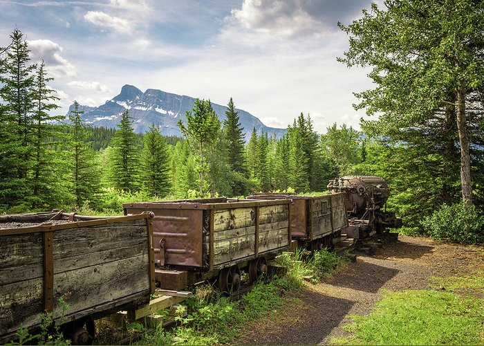 Coal Mine Train In The Ghost Town Of Bankhead Near Banff, Canada Greeting  Card