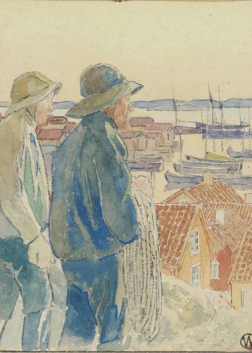 Carl Wilhelmson Greeting Card featuring the digital art Coast Fishermen by Mark Carlson