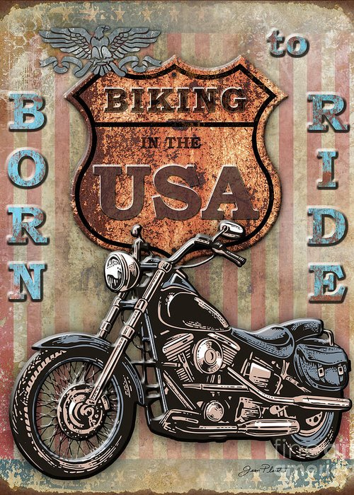 Motorcycle Greeting Card featuring the digital art Coast To Coast-e by Jean Plout
