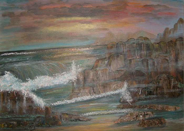 Seascape Greeting Card featuring the painting Coastal Brillancy by Mikki Alhart