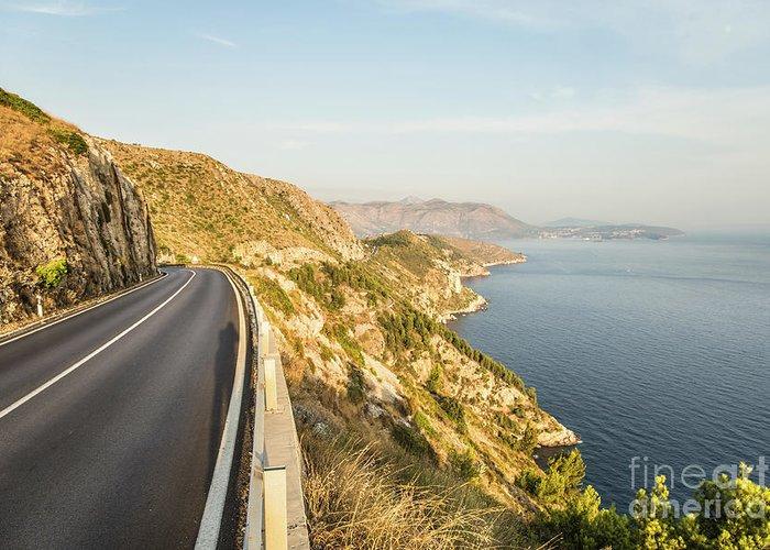 Coastline Greeting Card featuring the photograph Coastal Road Near Dubrovnik In Croatia by Didier Marti