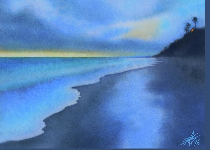Landscape Greeting Card featuring the painting Coastal Walk Vi by Robin Street-Morris